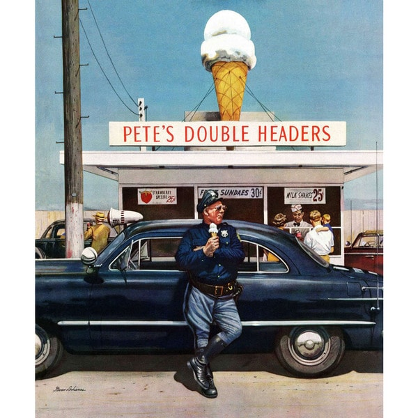 Marmont Hill - Pete's Double Headers by Stevan Dohanos Painting Print on Canvas - Multi-color
