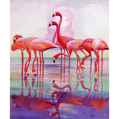 Marmont Hill - Handmade Pink Flamingos Painting Print on Canvas