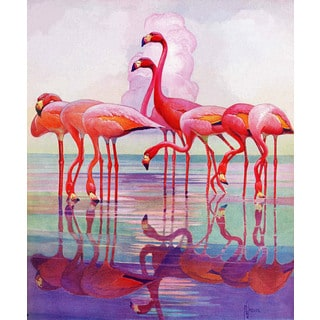 Marmont Hill - Pink Flamingos by Francis Lee Jaques Painting Print on Canvas