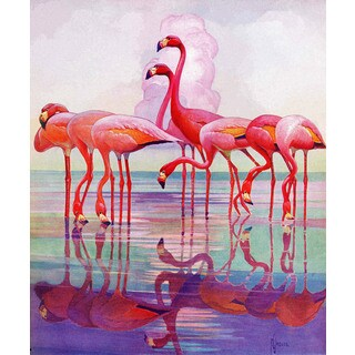 Marmont Hill - Pink Flamingos by Francis Lee Jaques Painting Print on Canvas - Multi-color