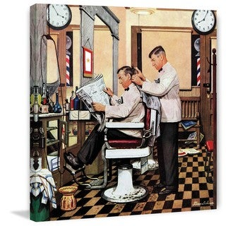 Marmont Hill - Barber Getting Haircut by Stevan Dohanos Painting Print on Canvas