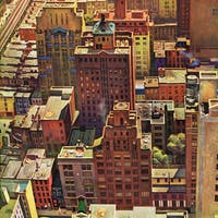 Marmont Hill - Bird's-Eye View of New York City by John Falter Painting Print on Canvas - Multi-color