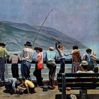Marmont Hill - Pier Fishing by John Falter Painting Print on Canvas
