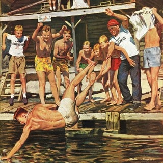 Marmont Hill - Wet Camp Counselor by Austin Briggs Painting Print on Canvas