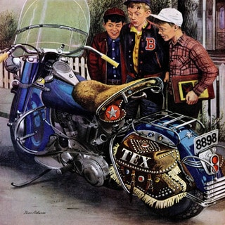 Marmont Hill - Tex's Motorcycle by Stevan Dohanos Painting Print on Canvas