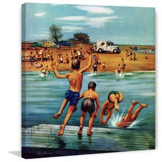 Marmont Hill - Ice Cream Truck at the Beach by Stevan Dohanos Painting Print on Canvas
