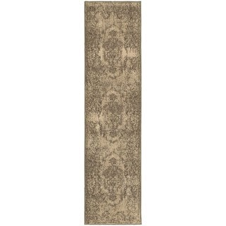 Shabby Chic Oriental Tan/ Brown Rug (1'10 x 7'6)