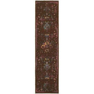 Traditional Distressed Overdyed Persian Brown/ Multi-colored Area Rug (1'10 x 7'6)