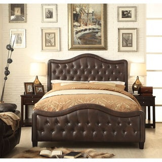 Moser Bay Furniture Adella Bonded Espresso Queen Waved Top Upholstery Bed