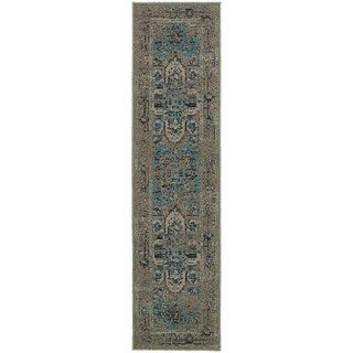 Traditional Distressed Overdyed Persian Grey/ Blue Rug (1'10 x 7'6)