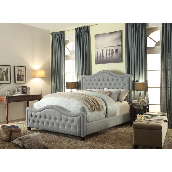 6b28582cfe20 Moser Bay Furniture Adella Linen Grey Queen Waved Top Upholstery Bed