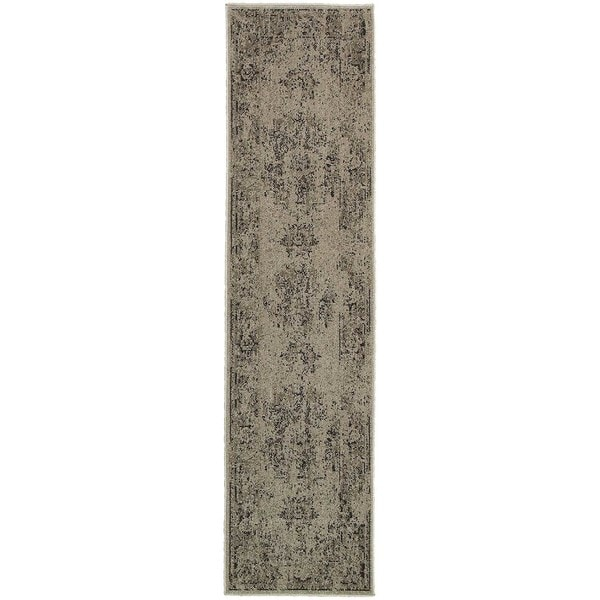 """Silver Orchid Vinot Overdyed Antiqued Grey/ Charcoal Rug - 1'10"""" x 7'6"""" Runner"""