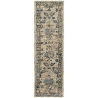 Faded Traditional Ivory/ Blue Rug (2'3 x 7'6)