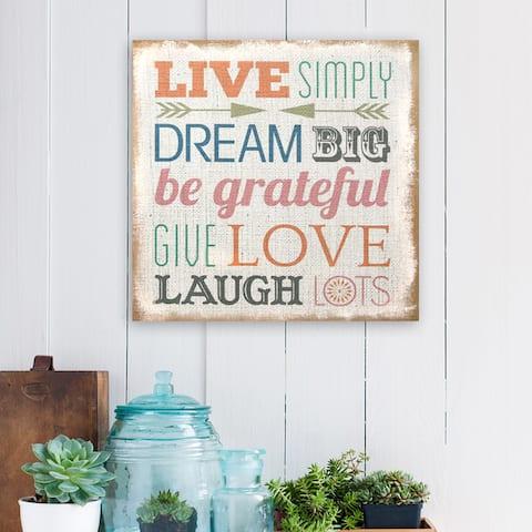 Stratton Home Decor 'Love Simply' Typography Burlap Art