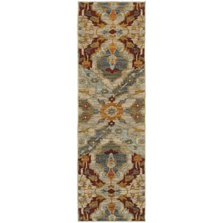 "Overscale Traditional Beige/ Orange Rug (2'3 x 7'6) - 2'3"" x 7'6"" Runner"