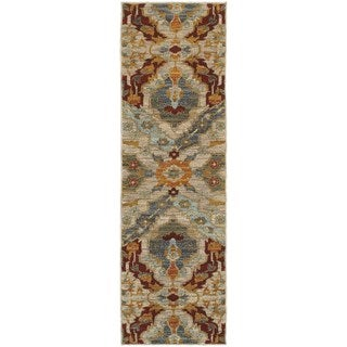 Overscale Traditional Beige/ Orange Rug (2'3 x 7'6)