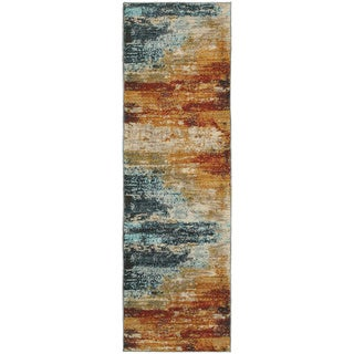 "Strick & Bolton Pepi Eroded Abstract Blue/ Red Runner Rug - 2'3"" x 7'6"" Runner"