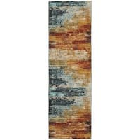 Clay Alder Home Pulp Mill Eroded Abstract Blue/ Red Rug (2'3 x 7'6)