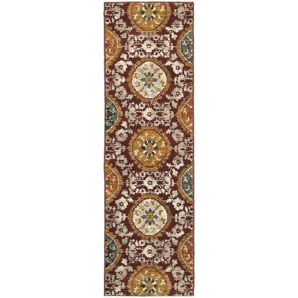 Floral Medallion Red/ Gold Rug (2'3 x 7'6)