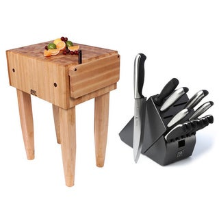 John Boos 30x30 Maple Butcher Block PCA5 Table And J.A. Henckels 13-piece Knife Set