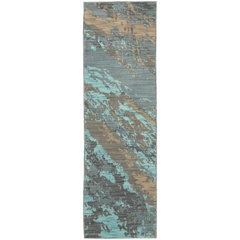 "Carson Carrington Uddevalla Abstract Marble Blue/ Grey Runner Rug - 2'3"" x 7'6"" Runner"