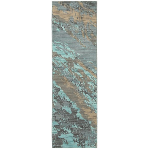 "Carson Carrington Uddevalla Abstract Marble Blue/ Grey Runner Rug - 2'3"" x 7'6"" Runner"