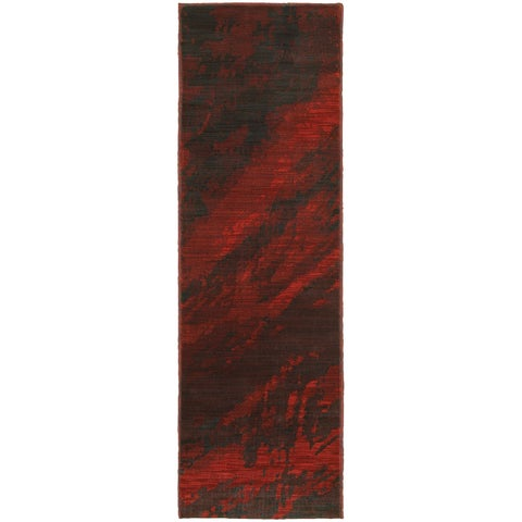 Abstract Marble Red/ Charcoal Rug - 2'3 x 7'6