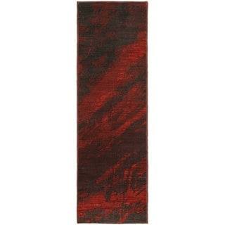 Abstract Marble Red/ Charcoal Rug (2'3 x 7'6)