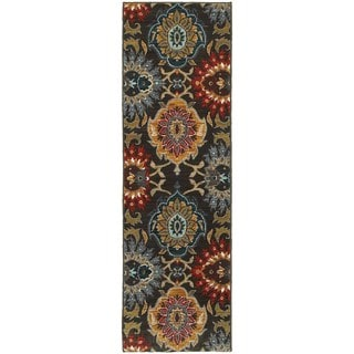 Bold Floral Charcoal/ Multi-colored Rug (2'3 x 7'6)