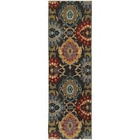 Bold Floral Charcoal/ Multi-colored Rug - 2'3 x 7'6
