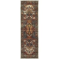 Laurel Creek Lester Persian Red/ Multi-colored Rug - 2'3 x 7'6