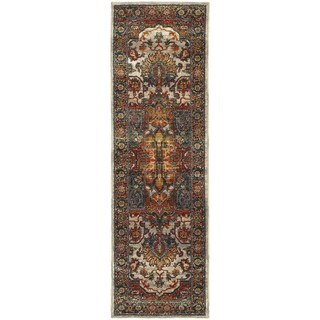 Old World Persian Red/ Multi-colored Rug (2'3 x 7'6)