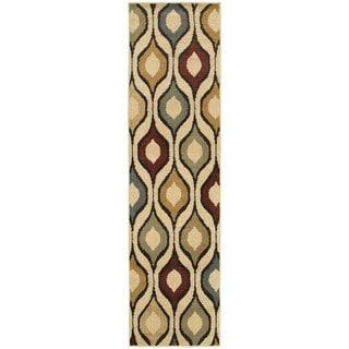 Odgee Design Ivory/ Multi-colored Rug (1'10 x 7'3)