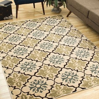 Diamond Geometric Gold/ Ivory Rug (1'10 x 7'3)