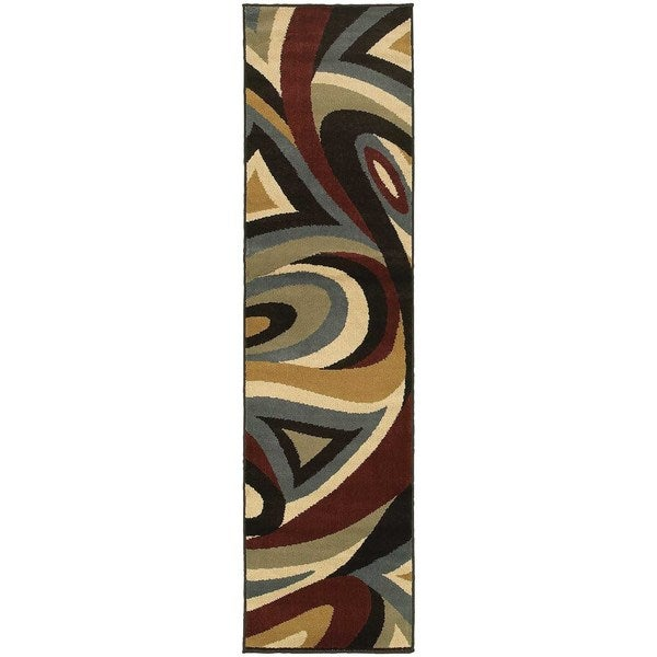 "Abstract Swirl Brown/ Multi-colored Rug (1'10 x 7'3) - 1'10"" x 7'3"""