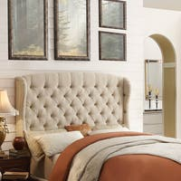 Moser Bay Furniture Feliciti Beige Tufted with Wings Queen Upholstery Headboard