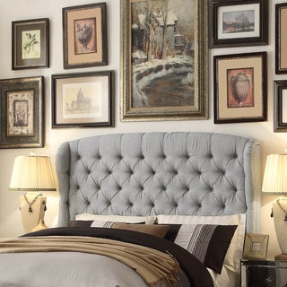 Moser Bay Furniture Feliciti Grey Tufted with Wings Queen Upholstery Headboard