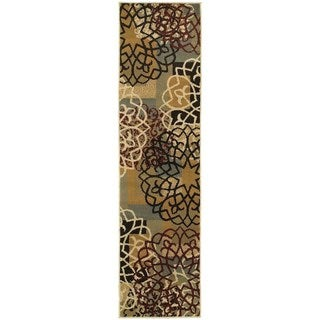 Geometric Block and Floral Multi-colored/ Gold Rug (1'10 x 7'3)