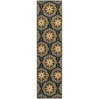 Floral Panel Blue/ Brown Rug (1'10 x 7'3)