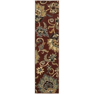 Large Scale Floral Red/ Gold Rug (1'10 x 7'3)