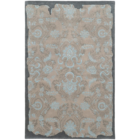 """PANTONE UNIVERSE Color Influence Eroded Oriental Grey/ Blue Rug (2'6 x 8') - 2'6"""" x 8' Runner"""