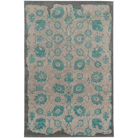 """PANTONE UNIVERSE Color Influence Eroded Oriental Green/ Grey Rug (2'6 x 8') - 2'6"""" x 8' Runner"""