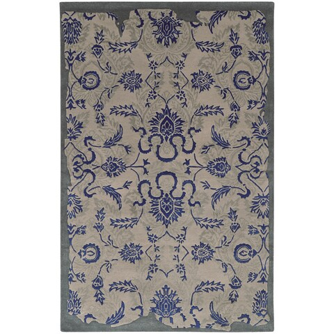 "Hand-crafted Eroded Oriental Grey/ Blue Wool Rug (2'6 X 8') - 2'6"" x 8' Runner"