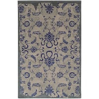 """Hand-crafted Eroded Oriental Grey/ Blue Wool Rug (2'6 X 8') - 2'6"""" x 8' Runner"""