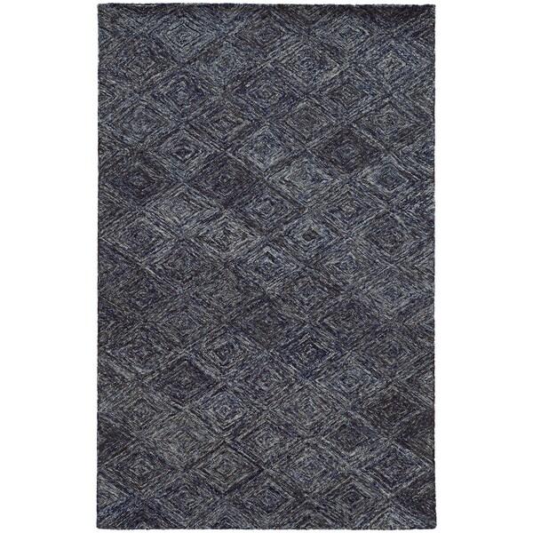 PANTONE UNIVERSE Colorscape Loop Pile Faded Diamond Blue/ Grey Rug (2'6 x 8')