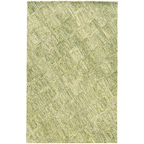 "PANTONE UNIVERSE Colorscape Loop Pile Faded Diamond Green/ Green Rug (2'6 x 8') - 2'6"" x 8' Runner"