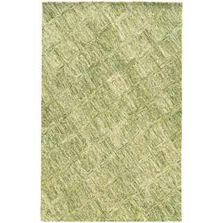 PANTONE UNIVERSE Colorscape Loop Pile Faded Diamond Green/ Green Rug (2'6 x 8')