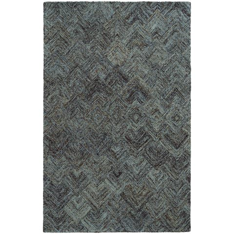 "PANTONE UNIVERSE Colorscape Loop Pile Faded Diamond Charcoal/ Blue Rug (2'6 x 8') - 2'6"" x 8' Runner"