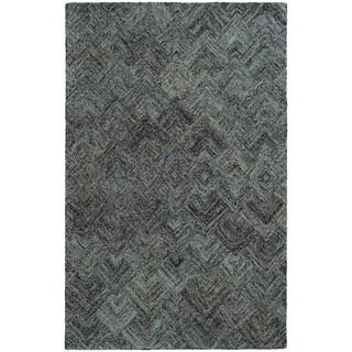 PANTONE UNIVERSE Colorscape Loop Pile Faded Diamond Charcoal/ Blue Rug (2'6 x 8')