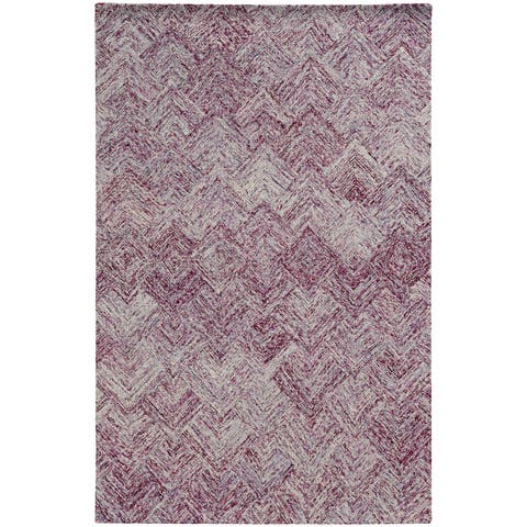 "PANTONE UNIVERSE Colorscape Loop Pile Faded Diamond Purple/ Purple Rug (2'6 x 8') - 2'6"" x 8' Runner"